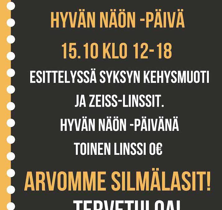 Hyvän Näön -päivä ti 15.10 klo 12-18